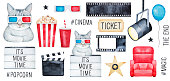 Big Cinema Set with cute funny kitty character, 'Movie Time' elements, media hashtags, clapper, filmstrip.