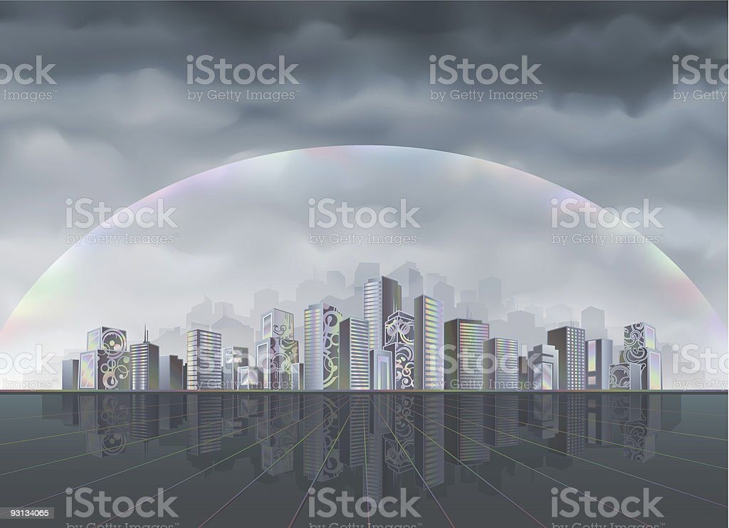 Big fantastic city protected by forcefield