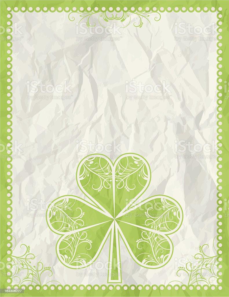 big green clover over beige background royalty-free stock vector art