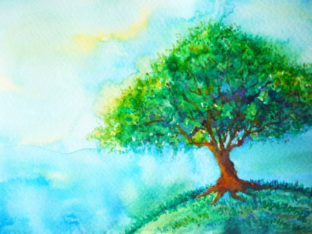 bildbanksillustrationer, clip art samt tecknat material och ikoner med stora gröna träd färg på jorden planet akvarellmålning blå himlen ljus bakgrund illustration design hand dras - earth from space