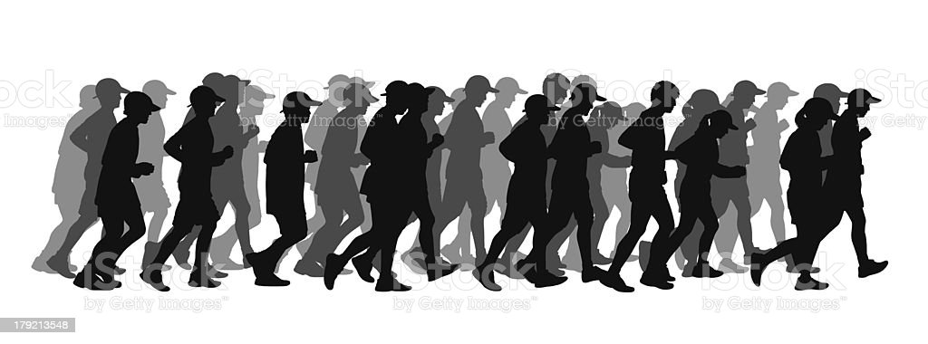 big group of people running black silhouette royalty-free stock vector art