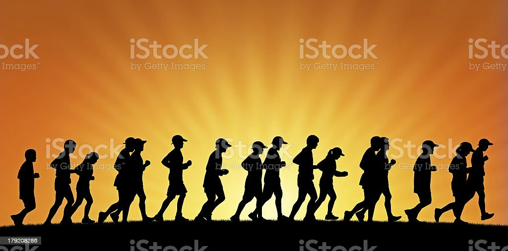 big group of people running on sunset background royalty-free stock vector art