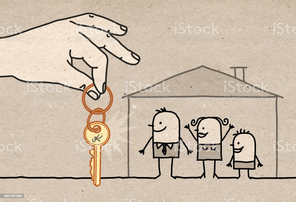Big Hand - family with new home - Illustration vectorielle