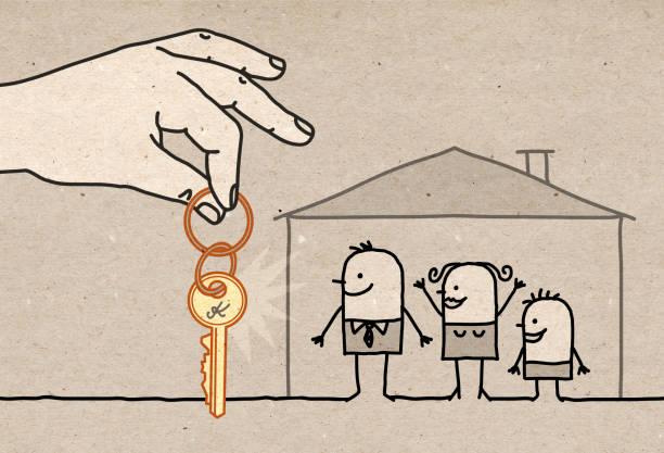 illustrations, cliparts, dessins animés et icônes de grande main - famille avec la nouvelle maison - nouveau foyer