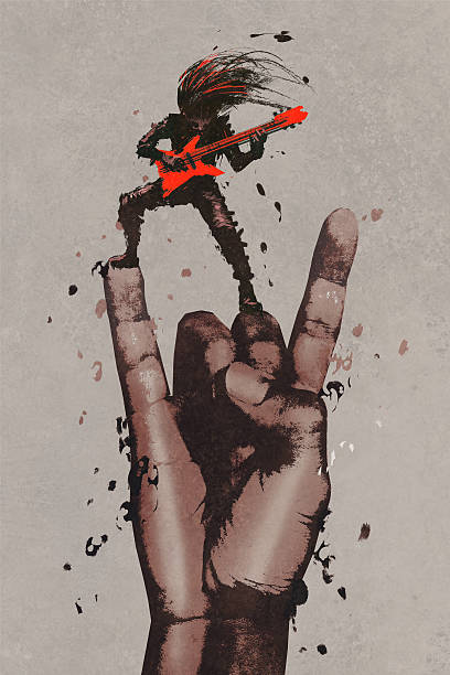 big hand in rock n roll sign with guitarist, vector art illustration