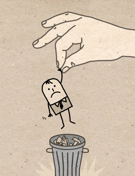 Big hand - trash can - Illustration vectorielle