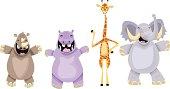 """A rhino, hippo, giraffe and african elephant."""