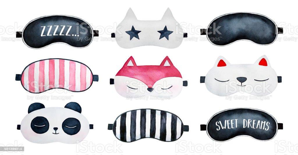 Ilustración grande conjunto de la colección de máscaras de sueño. - ilustración de arte vectorial