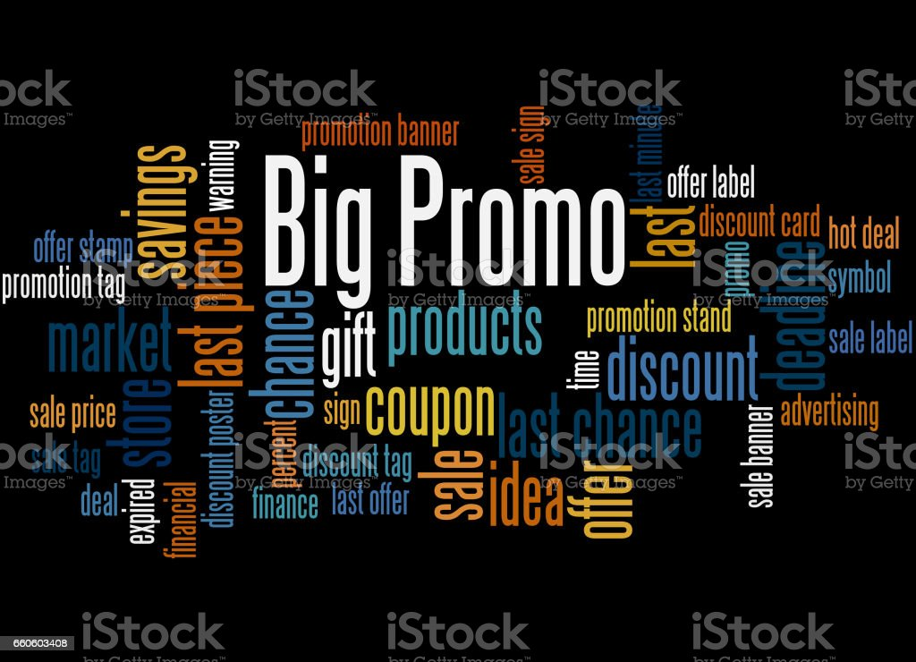 Big Promo, word cloud concept 7 royalty-free big promo word cloud concept 7 stock vector art & more images of business