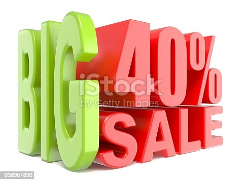Big sale and percent 40% 3D words sign. 3D render illustration isolated on white background