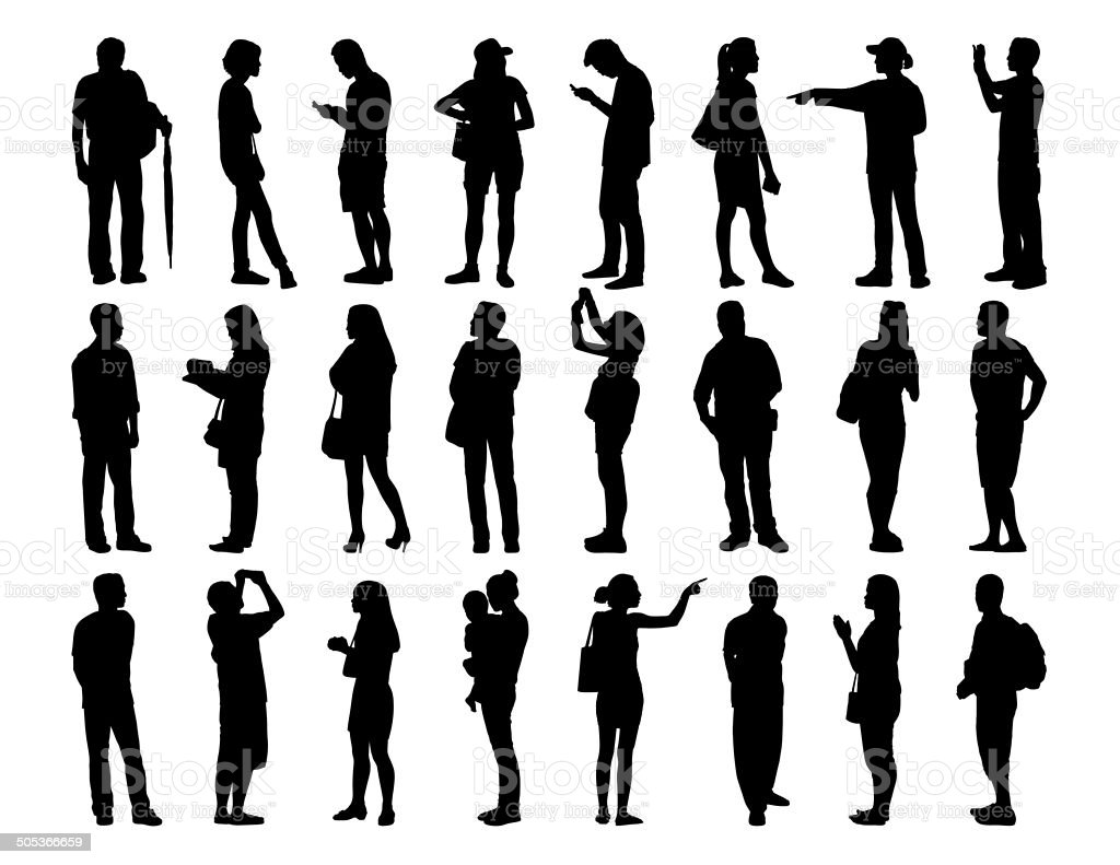 big set of asian people standing silhouettes vector art illustration