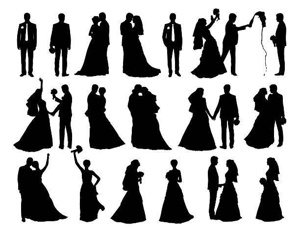 big set of bride and groom silhouettes big set of black silhouettes of bride and groom together and alone in different postures bridegroom stock illustrations