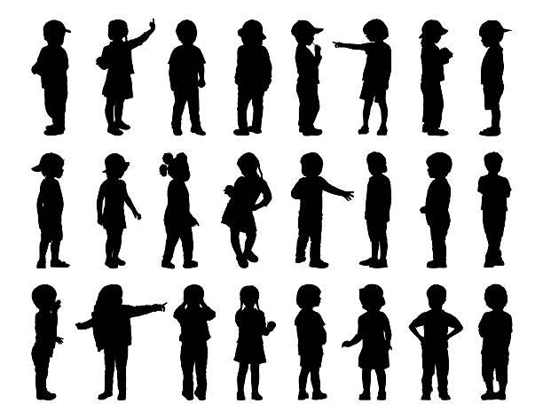 Gran conjunto de siluetas de los niños de pie 1 - ilustración de arte vectorial