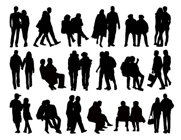 big set of couples silhouettes - old man kissing stock illustrations, clip art, cartoons, & icons