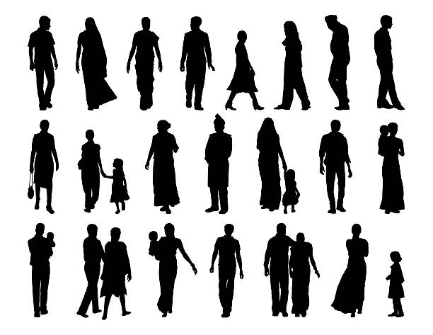 big set of indian people silhouettes big set of black silhouettes of indian men, women and children standing and walking indian family stock illustrations