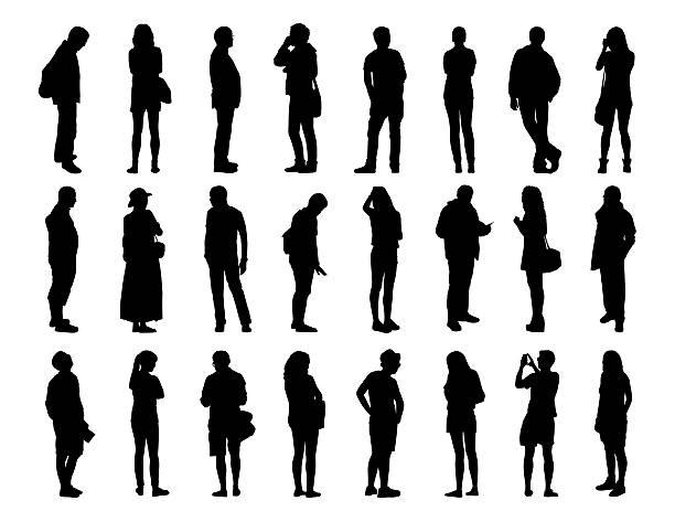 ilustrações, clipart, desenhos animados e ícones de grande conjunto de silhuetas de homens e mulheres em pé, 1 - moda urbana