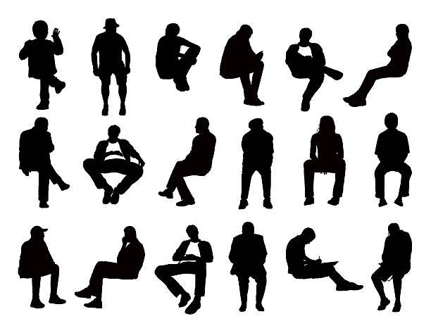 duży zestaw sylwetki mężczyzn siedzących - siedzieć stock illustrations