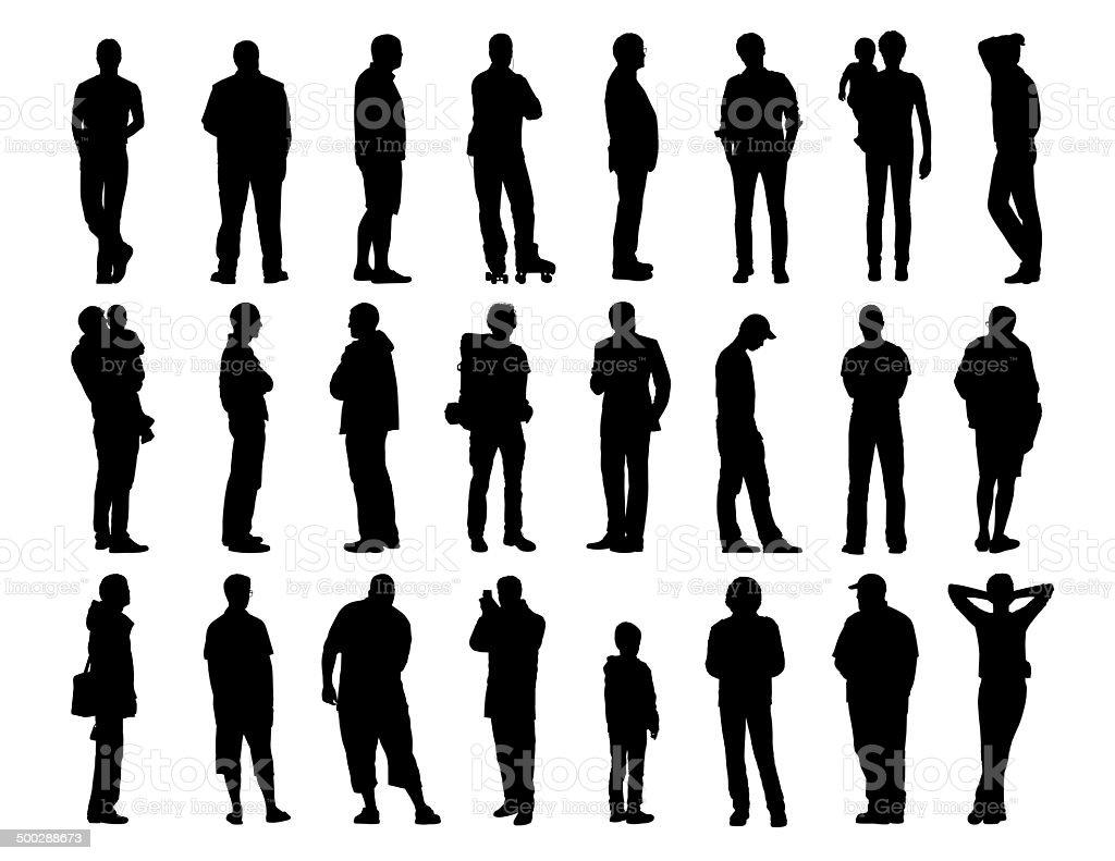 big set of men standing silhouettes 1 vector art illustration