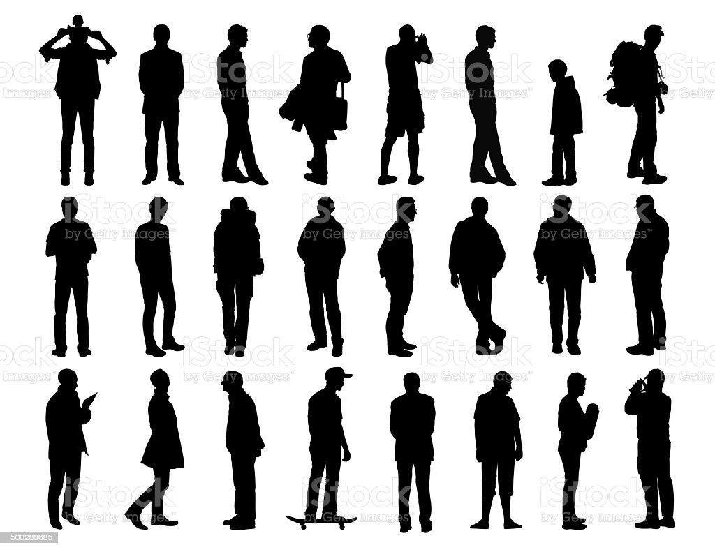 big set of men standing silhouettes 2 vector art illustration