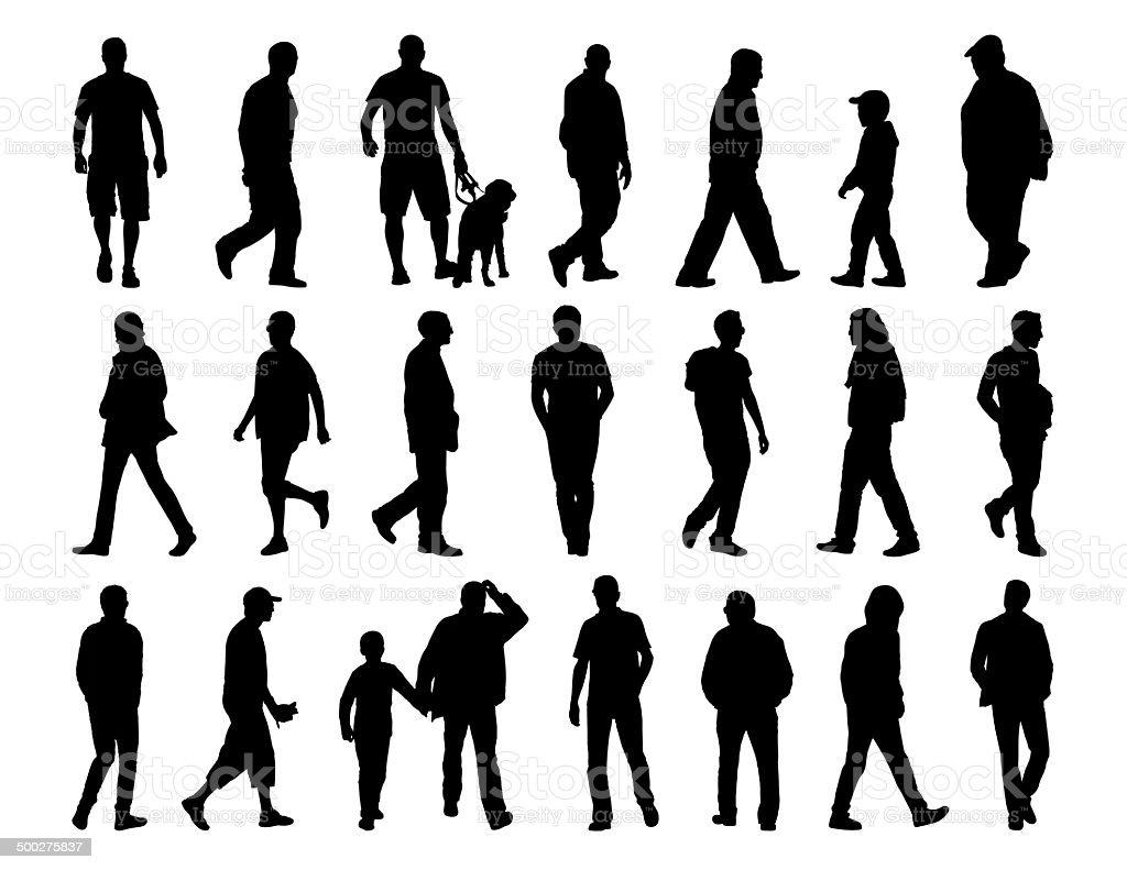 big set of men walking silhouettes vector art illustration
