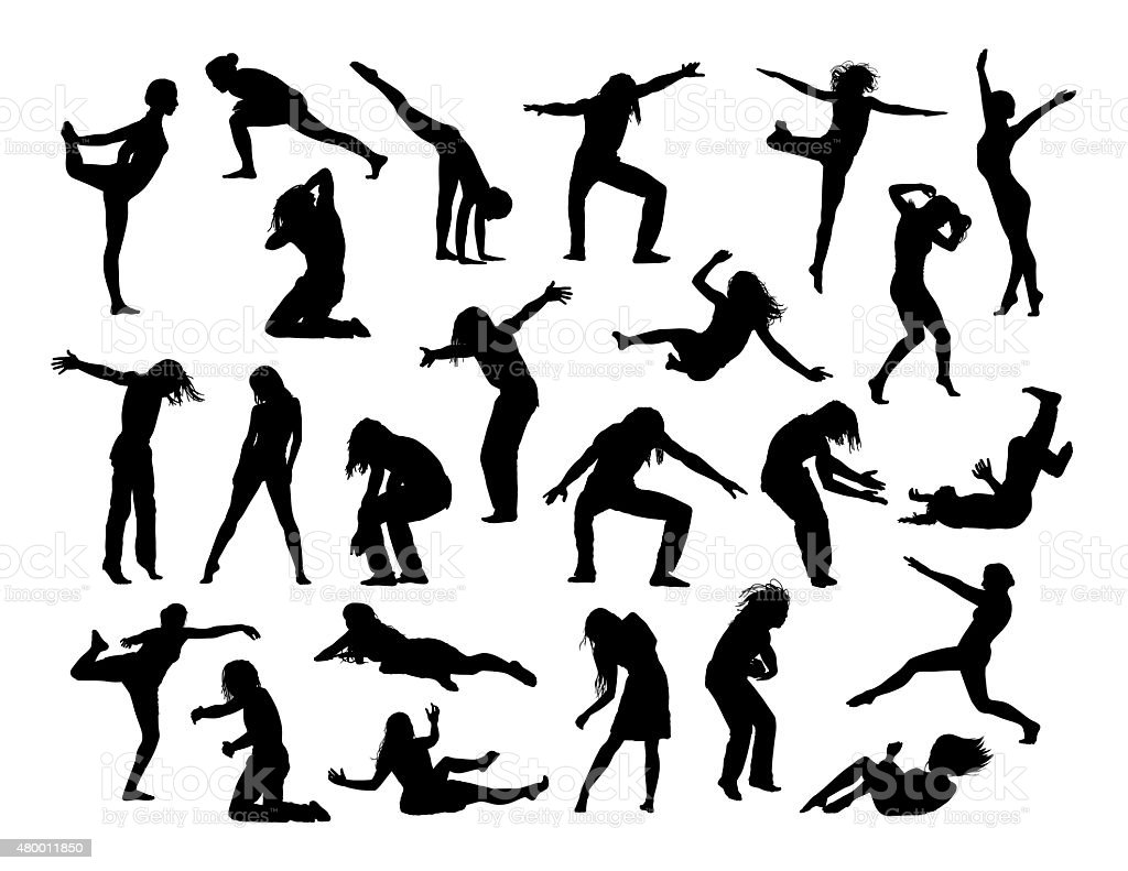 big set of people in action silhouettes 1 vector art illustration
