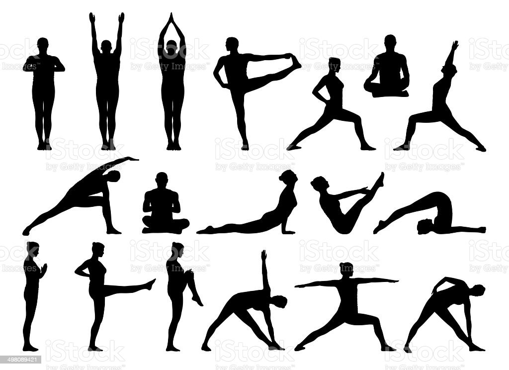 big set of people practicing yoga silhouettes vector art illustration