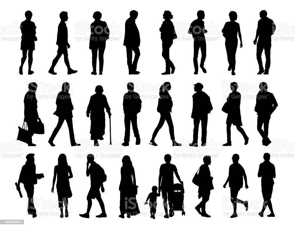 big set of people walking silhouettes set 2 vector art illustration