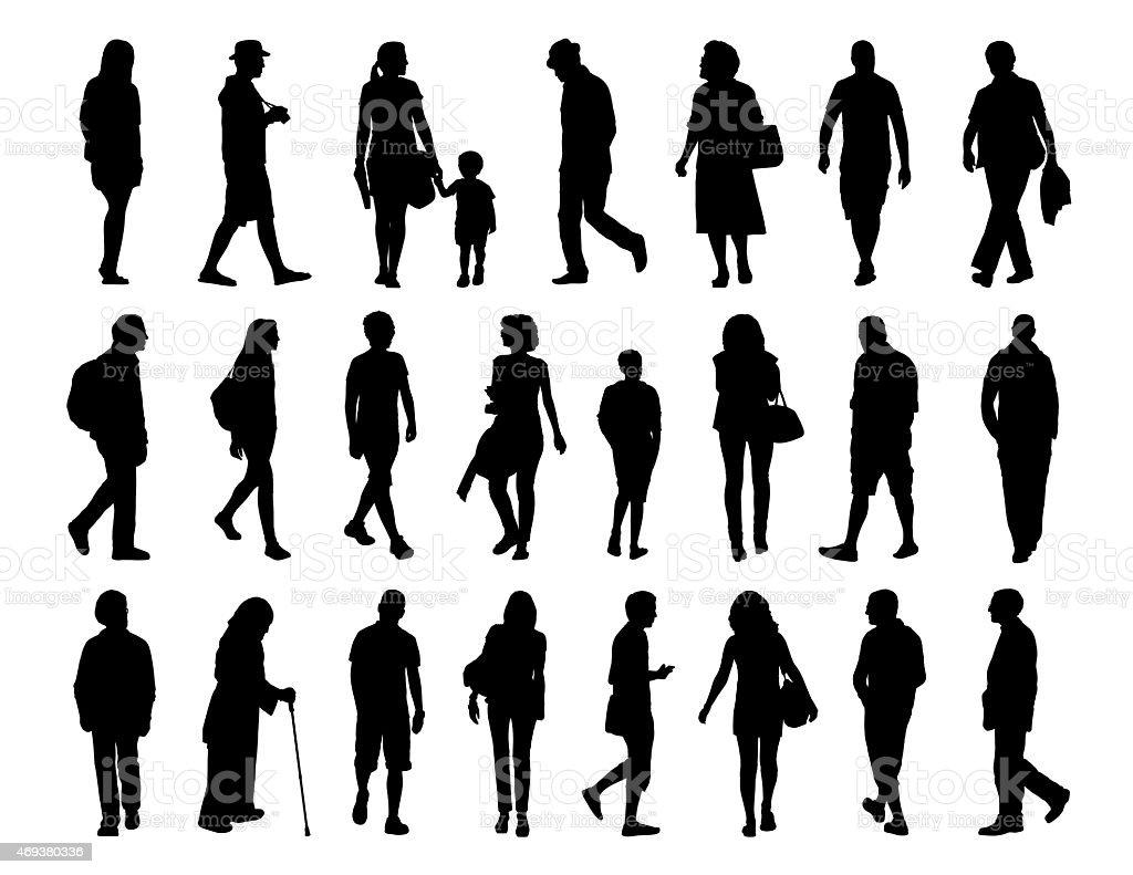 big set of people walking silhouettes set 3 vector art illustration