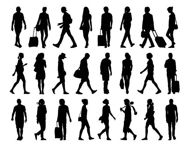 Royalty Free Woman Walking Side View Clip Art, Vector