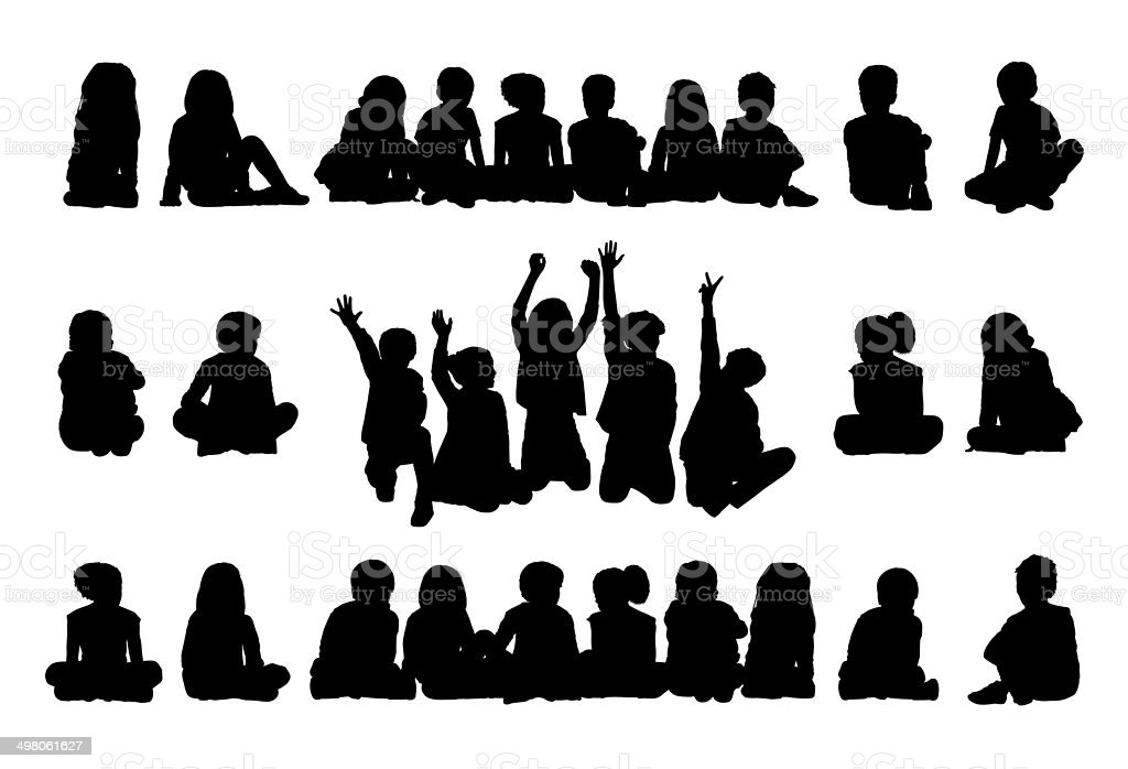 big set of schoolchildren seated silhouettes vector art illustration