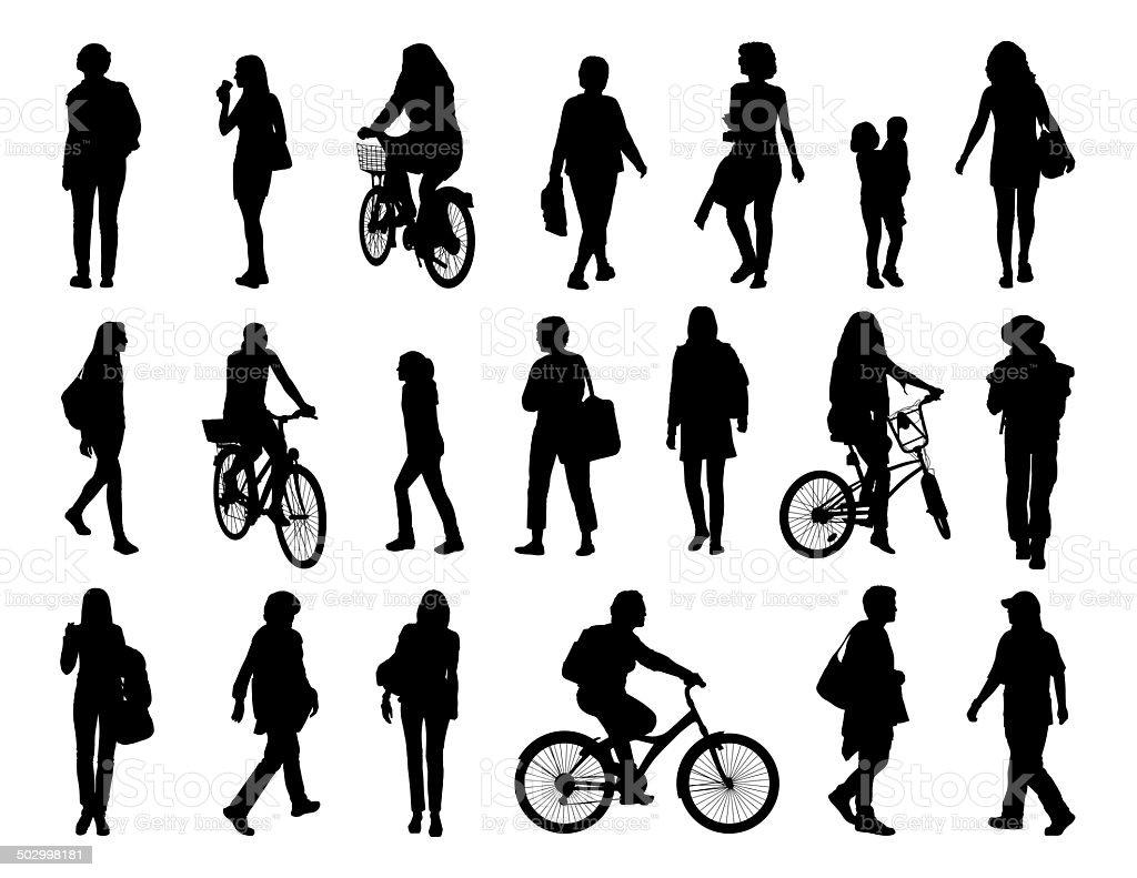 big set of women walking silhouettes vector art illustration