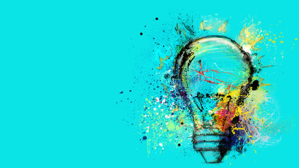 Big stylized light bulb on cyan background drawn with splashes of colored paint. Concept of innovation and creativity Banner concept of innovation, creativity and imagination art stock illustrations
