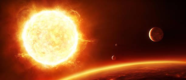 illustrazioni stock, clip art, cartoni animati e icone di tendenza di grande sole con pianeti - near