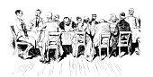istock Big table feast 1256985414
