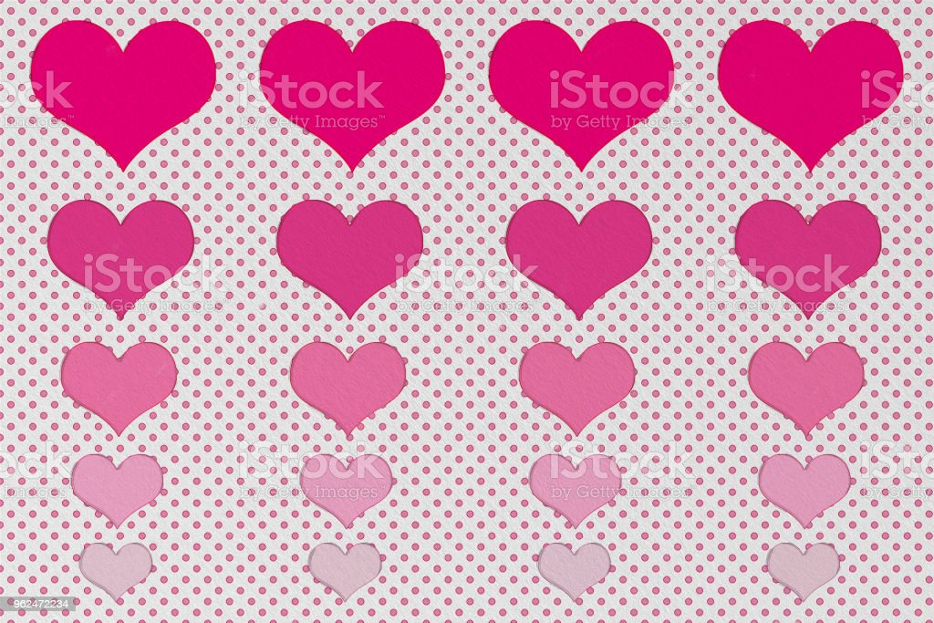 Big to small size of red heart and small dots on white background with wall texture for Valentine and love concept vector art illustration