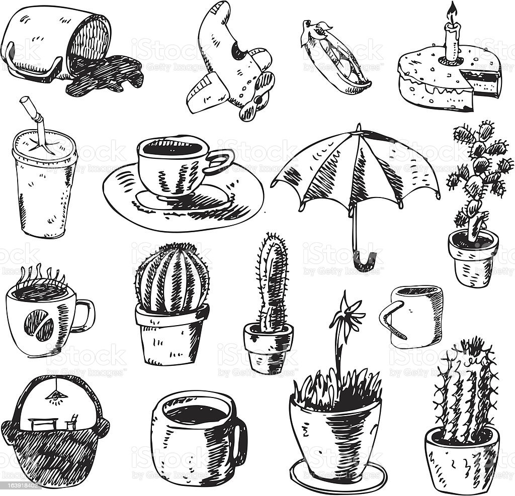 big vector set - cups and other design elements royalty-free stock vector art