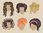 """""""Big vector set of grunge hair styling (from my big """"""""Hair styling collection"""""""")"""""""