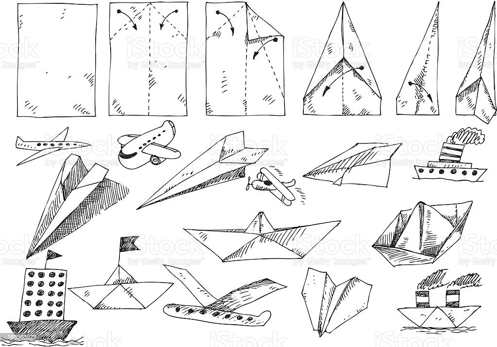 big vector set - paper planes and ships royalty-free big vector set paper planes and ships stock vector art & more images of cartoon