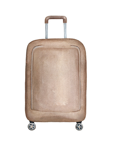 Big vertical suitcase handmade illustration. One single object, dark beige colour, rectangular shape, rounded corners.