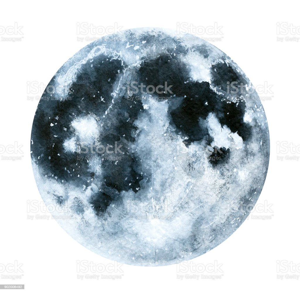 Big Watercolor Moon Illustration Symbol Of New Beginning Dreaming Romance Fantasy
