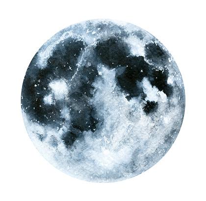 Big watercolor moon illustration. Symbol of new beginning, dreaming, romance, fantasy, magic.