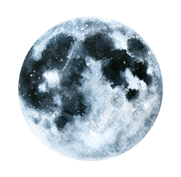 big watercolor moon illustration. symbol of new beginning, dreaming, romance, fantasy, magic. - moon stock illustrations, clip art, cartoons, & icons