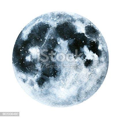 Big Watercolor Moon Illustration Symbol Of New Beginning Dreaming