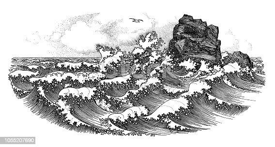 Big waves - Scanned 1899 Engraving