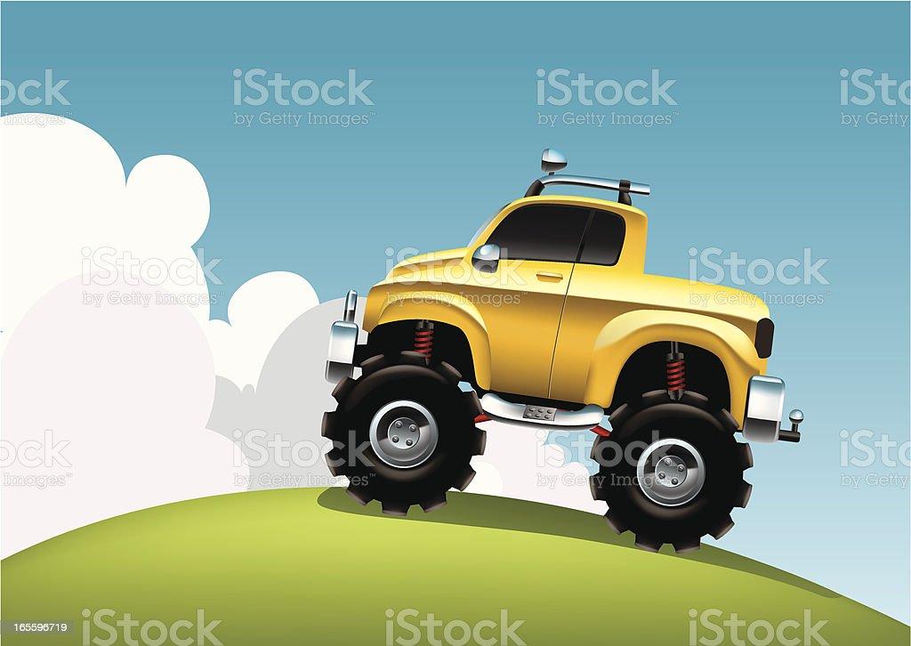 Big wheels yellow truck royalty-free stock vector art