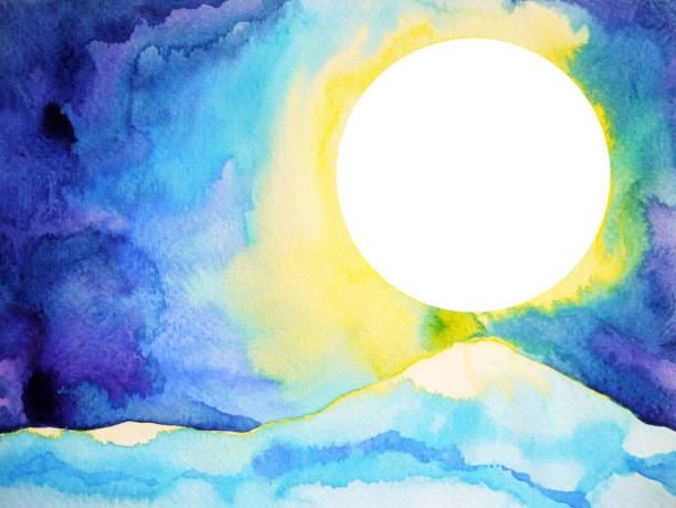 bildbanksillustrationer, clip art samt tecknat material och ikoner med stora vita fullmånen utrymme och blue mountain mönster textur akvarell målning illustration design bakgrund - earth from space