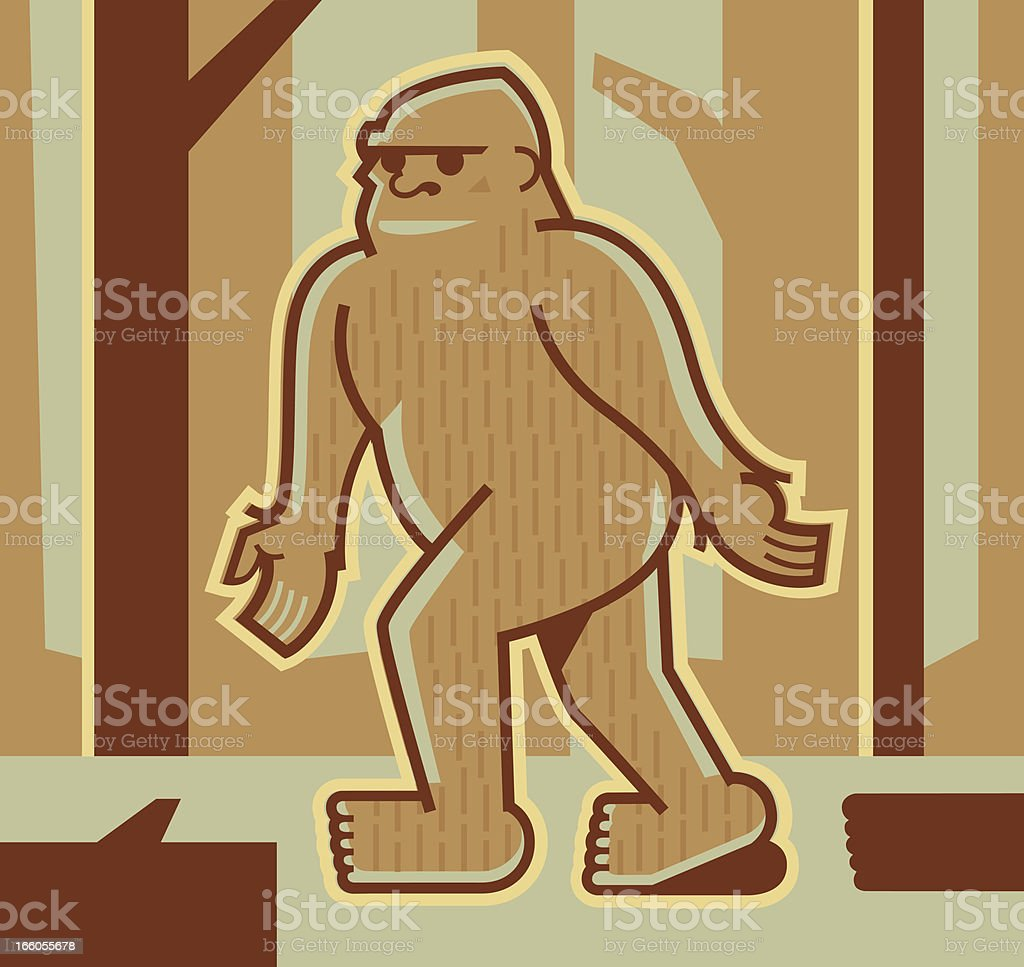 Bigfoot or Sasquatch vector art illustration