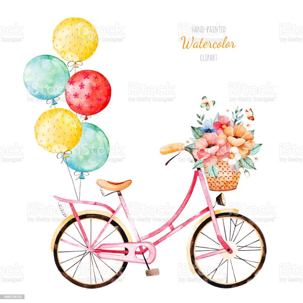 Buket Sepet Ve çok Renkli Balonlar Ile Bisiklet Stok Vektör Sanatı