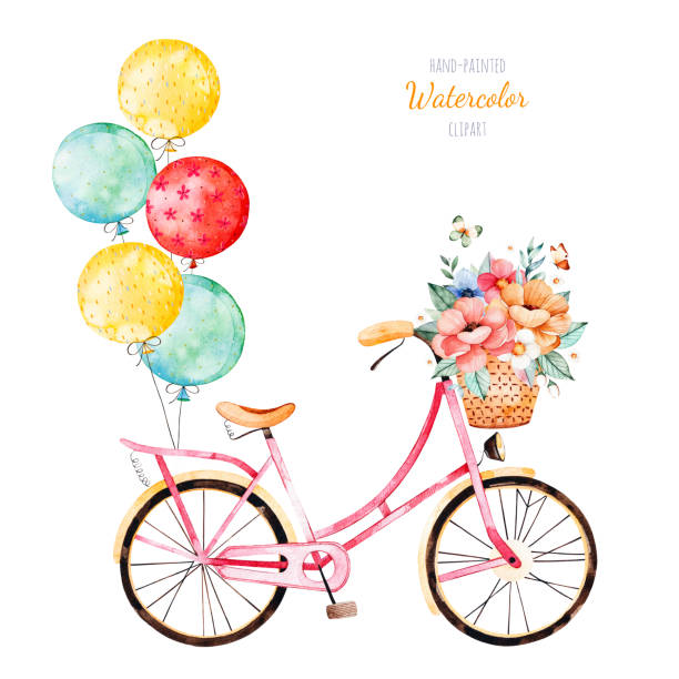 Bike with bouquet in basket and multicolored balloons vector art illustration