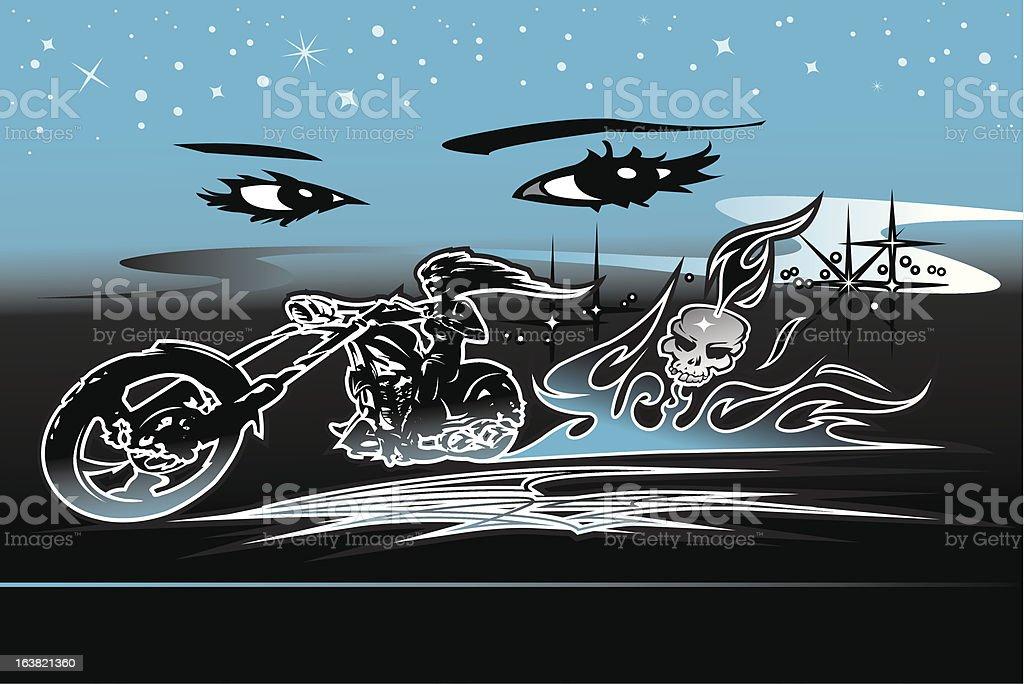 biker babe burnout royalty-free stock vector art